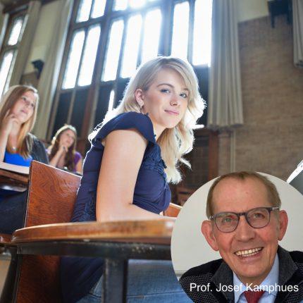 Montage: Portrait Prof. Dr. Josef Kamphues / Hintergrund: Studentinnen