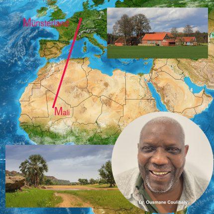 Montage Portrait Dr. Ousmane Coulibaly / Landkarte Afrika-Münsterland