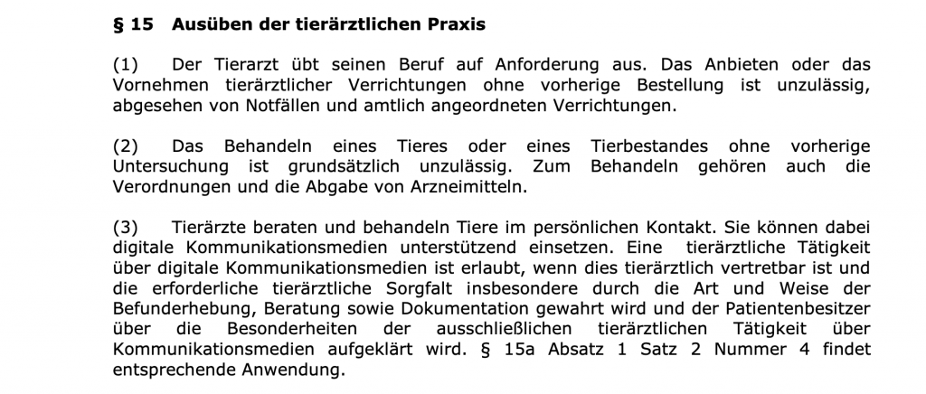 """""""Telemedizin""""-Paragraph in der Berufsordnung der Tierärztekammer Nordrhein."""