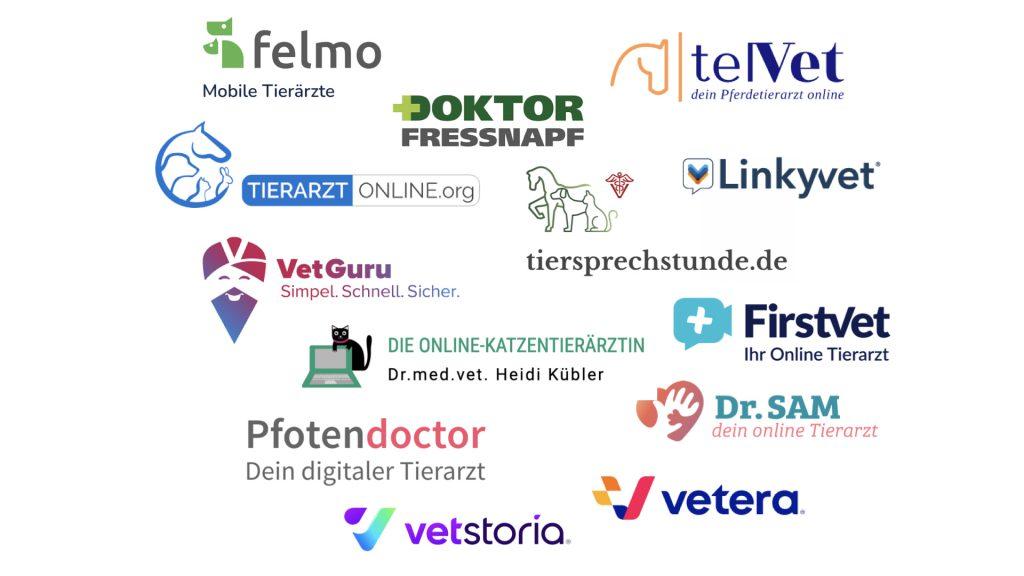 Logoübersicht diveres Telemedizinanbieter in der Tiermedizint